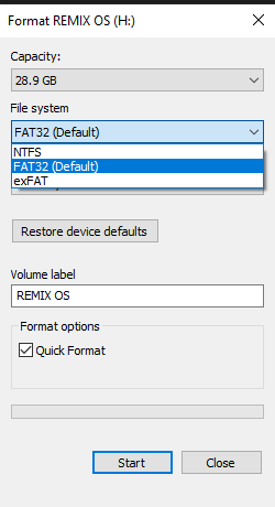 Format usb drive to install remix os